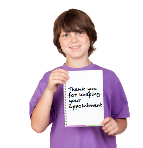 Kid holding sign thanking them for not cancelling Kidmunicate_Cancellation_Policy